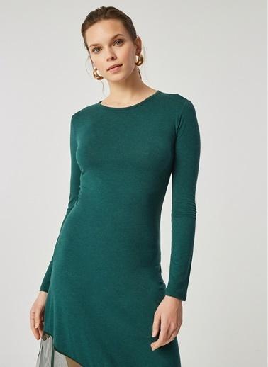 Monamoda Monamoda Eteği Tül Detaylı Örme Kadın Elbise Yeşil